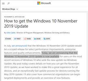 Windows 10 November 2019 Update が一般公開らしい