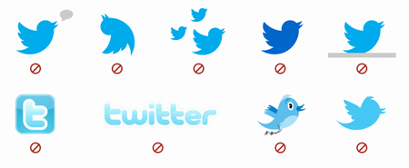 Twitter birdを複数表示すること。 ・ Twitter birdの色を変更すること。 ・ Twitterブランドの代わりに他のマークやロゴ を使用すること。
